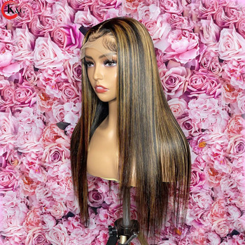 KUNGANG Highlight13*4 Lace Wigs Straight Human Hair Wigs Brazilian Front Wigs 150% Density With Baby Hair Non-Remy 2