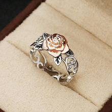 USTAR Rose Flower Carving Rings for women fashion jewelry Antique silver Engagement rings Female Anel gift