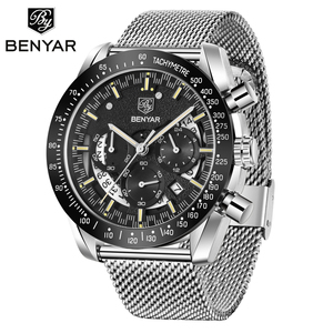 Image 1 - BENYAR top luxury brand watch mens sports stainless steel chronograph quartz business waterproof mens watch relogio masculino