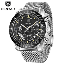 Benyar topo da marca de luxo relógio esportivo masculino aço inoxidável cronógrafo quartzo negócio à prova dwaterproof água relógio masculino relogio masculino