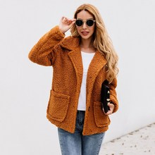 New Women Solid Color Coat Autumn Winter Loose Casual Long Sleeve Warm Cashmere Wool Coat Ladies Fashion Pocket Lapel Blend Coat coffee wide lapel side pocket design fashion coat