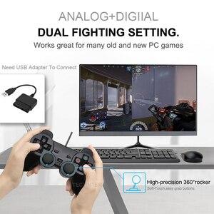 Image 5 - 透明色有線コントローラためPS2振動ジョイスティックゲームパッドジョイパッド色プレイステーション2コントローラ
