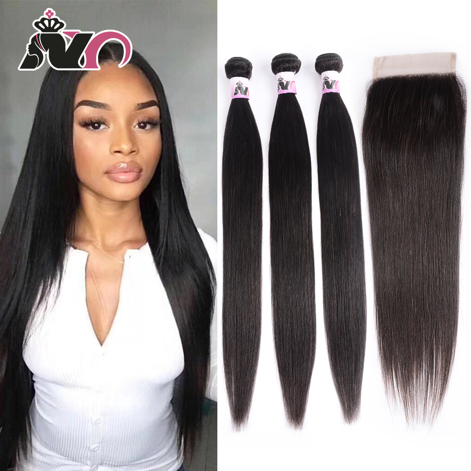 NY Straight Hair Bundles With Closure Peruvian Weave Hair 3 Bundles With 4*4 Closure Non-Remy Human Hair Bundles With Closure