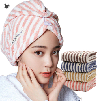 2019 New Microfiber hair towel Quick Drying hair wrap towel Super Absorbent microfiber towel hair with Button Coral Velvet soft