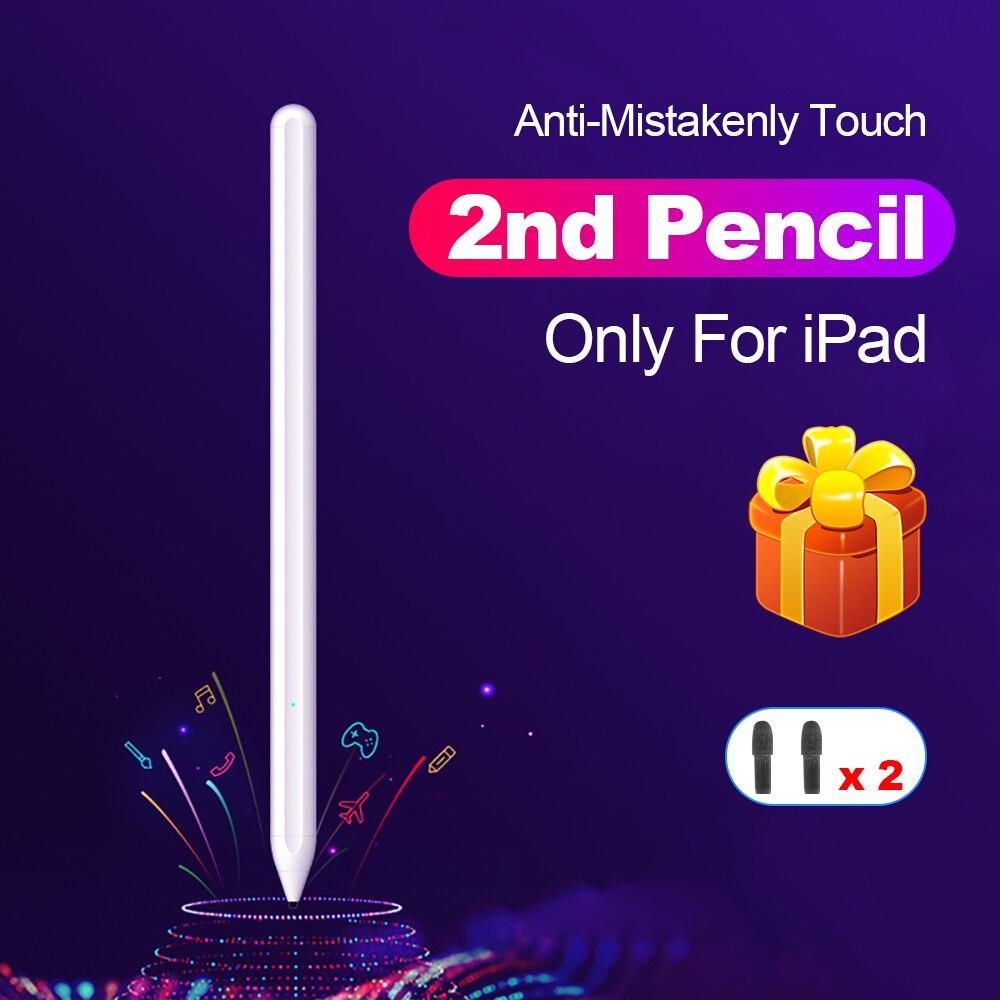 Para apple pencil 2 caneta de toque stylus para ipad pro 11 12.9 9.7 2018 ar 3 10.2 2019 mini 5 para ipad lápis sem atraso desenho caneta