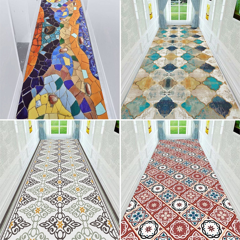 Tapis d'escalier marocain Vintage tapis de couloir géométrique tapis de sol de couloir d'hôtel tapis de sol de mariage tapis anti-dérapant en Polyester