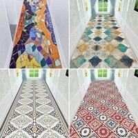 Vintage Moroccan Stair Carpet Geometric Corridor Carpets Hotel Hallway Floor Mat Wedding Floor Area Rugs Anti Slip Polyester Rug
