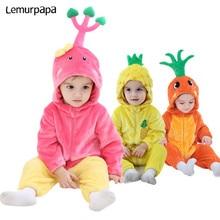 Одежда для маленьких мальчиков и девочек 0   3 лет, комбинезон комбинезон с милым ананасом, морковкой, забавная одежда для сна для новорожденных, карнавальный костюм для вечеринок