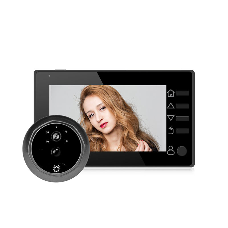 ABKT-Door Bell Deurbel Met Camera Video Peephole Door Eye 4.3 Inch Tft Lcd Ir Night-Vision 3 Modes Video Recording Photos Taking