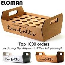 ELOMAN-porte-cônes à confettis naturels, plateau personnalisé pour décoration de mariage, en papier blanc et Kraft
