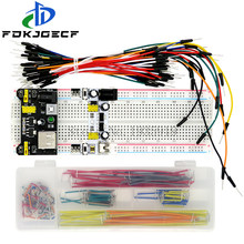 3.3v/5v mb102 placa de pão módulo alimentação + MB-102 830 pontos protótipo placa pão para arduino kit + 65 pçs/140pcs fios cabo jumper