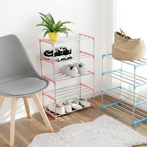 Simple Multi Layer Shoe Rack Stainless Steel Easy Assemble Storage Shelf Shoe Cabinet