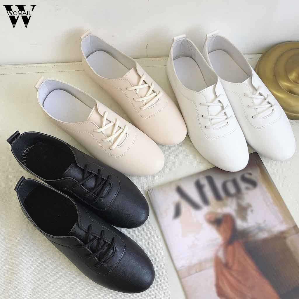 รองเท้าผู้หญิงฤดูใบไม้ร่วงรองเท้าแบนนักเรียนรองเท้า Martin Boots รองเท้าแฟชั่นผู้หญิงรองเท้าผ้าใบ Retro Elegant Lace-up p102