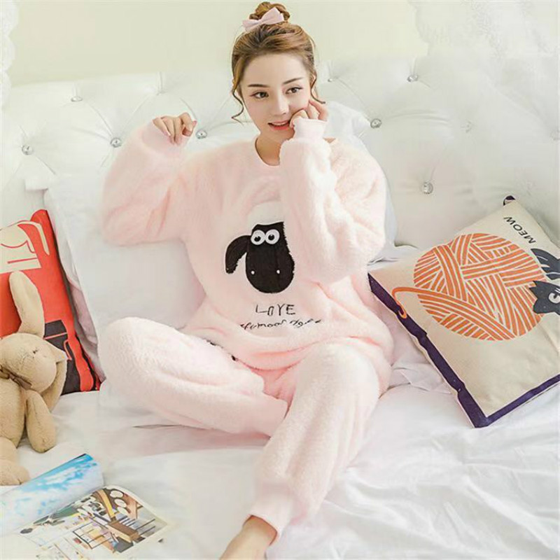 Women Pajama Sets 2019 Autumn Winter Pajamas Flannel Cartoon Thick Warm Women Sleepwear Cute Animal Female Homewear
