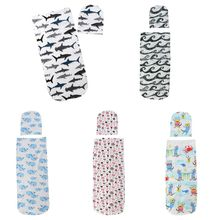 Newborn Baby Sleeping Bag Hat Set Cartoon Printing Child Infants Wrap Swaddle Head Cap Shower Gifts
