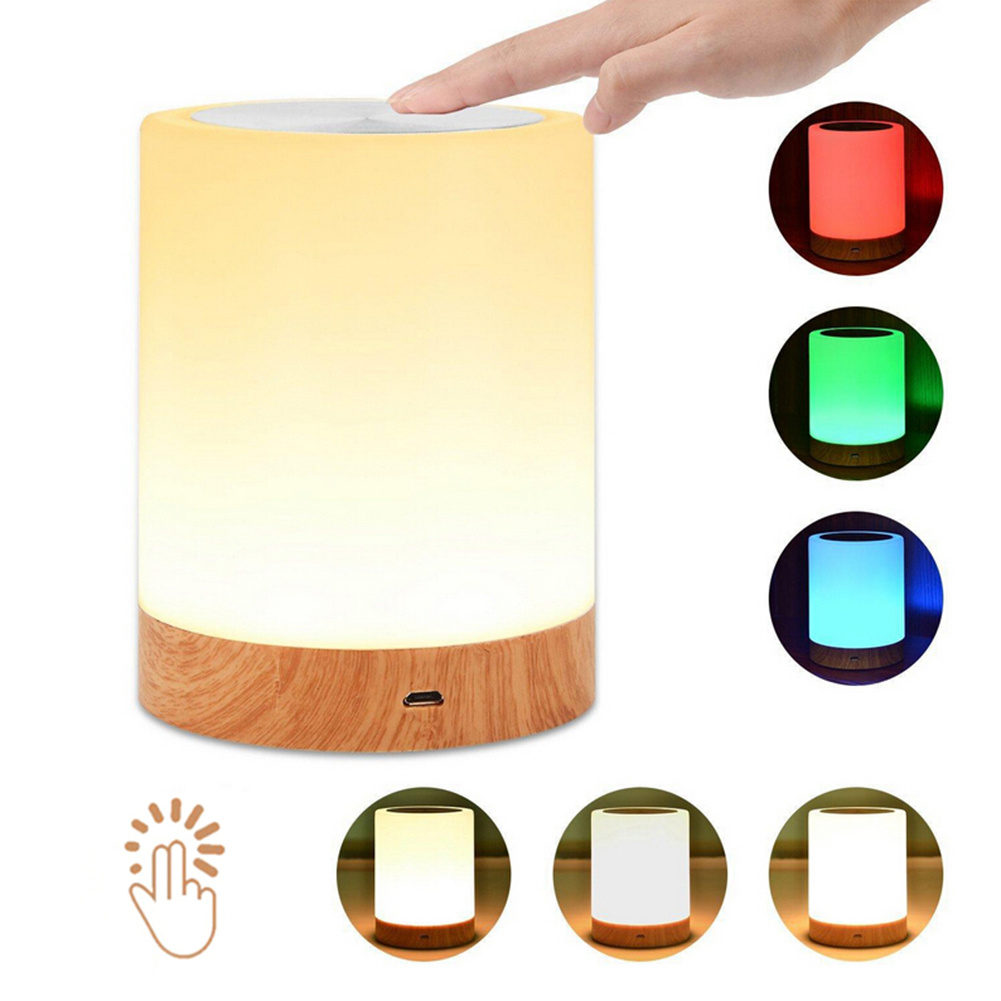Led Touch Night Lamp USB Rechargeble Wood Grain Table Bedside Nursing Light 6Colors Light Adjustable Baby Sleep Room Night Lamp