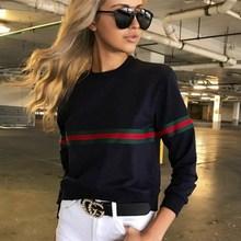 цена на Goocheer New Fashion Colorful Striped Women T Shirt Womens Autumn Long Sleeve Sweatshit 2019 Casual  Print Women T-Shirt