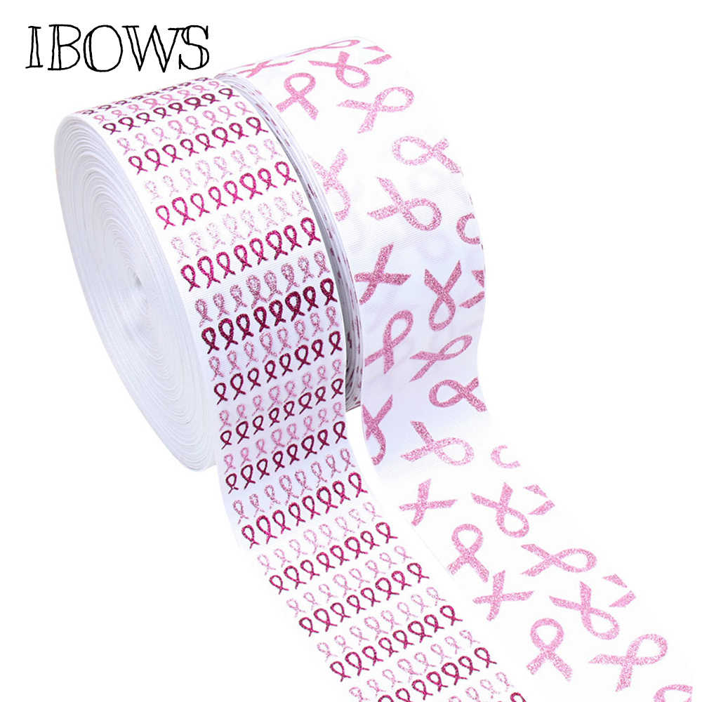 "IBOWS 2Yard 3"" 75mm Grosgrain Ribbon Glitter AIDS Printed Tape Pink Breast Cancer DIY Hair Bows Accessories Ribbon Decoration"