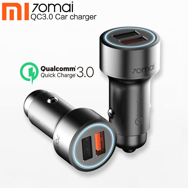 Xiaomi 70mai Quick Charge3.0 Dual USB Car Charger For Huawei Samsung s10 For Iphone 5 6 7 8 70 mai Car Mobile Phone Fast Charger