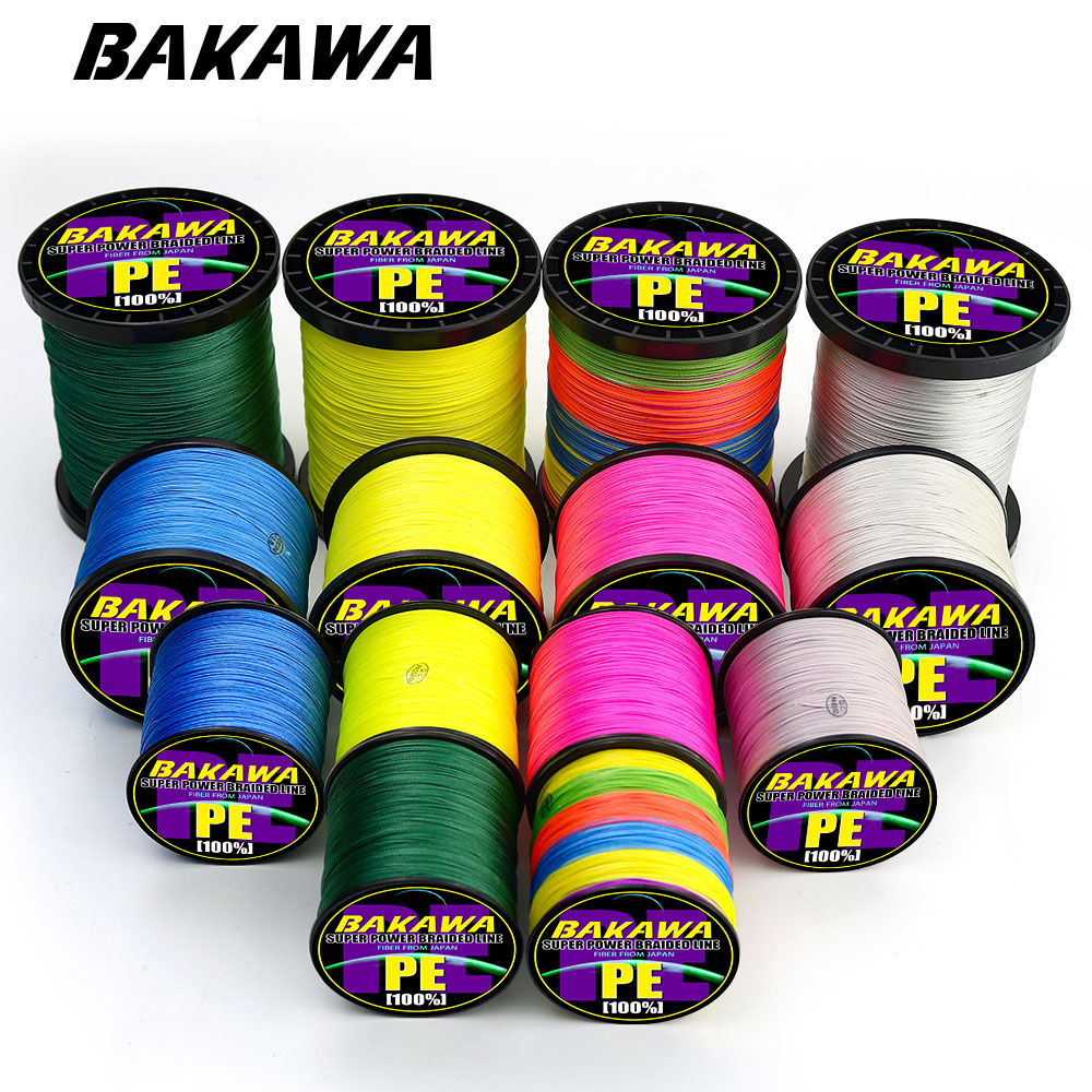 BAKAWA carp fishing 300M 500M 1000m 4 Strands braid line Pesca Super strong tresse peche Multifilament fly Fishing wire Tackle