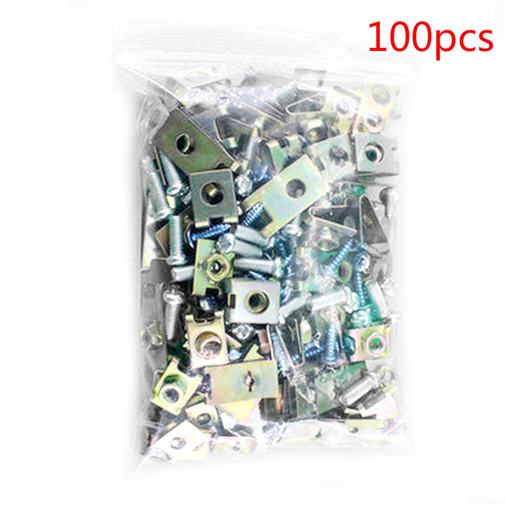100 peças de metal do carro u tipo gaxeta clipes prendedores corpo painel da porta guarnição parafuso fixo u-porcas gaxeta clip para reparação de automóveis
