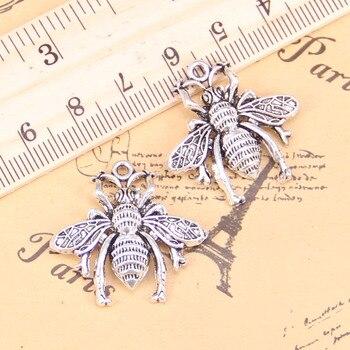 8 Uds encantos abeja, insecto 26x25mm antiguo colgantes Vintage plata tibetana joyería de DIY para collar de pulsera