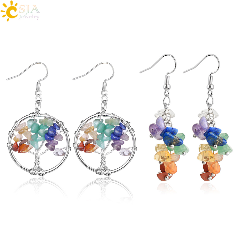 CSJA 7 Chakra Dangle Earrings Natural Stone Chip Beads Tree Of Life Drop Earrings For Women Friend Gift Jewelry 2 Pairs/Set G465
