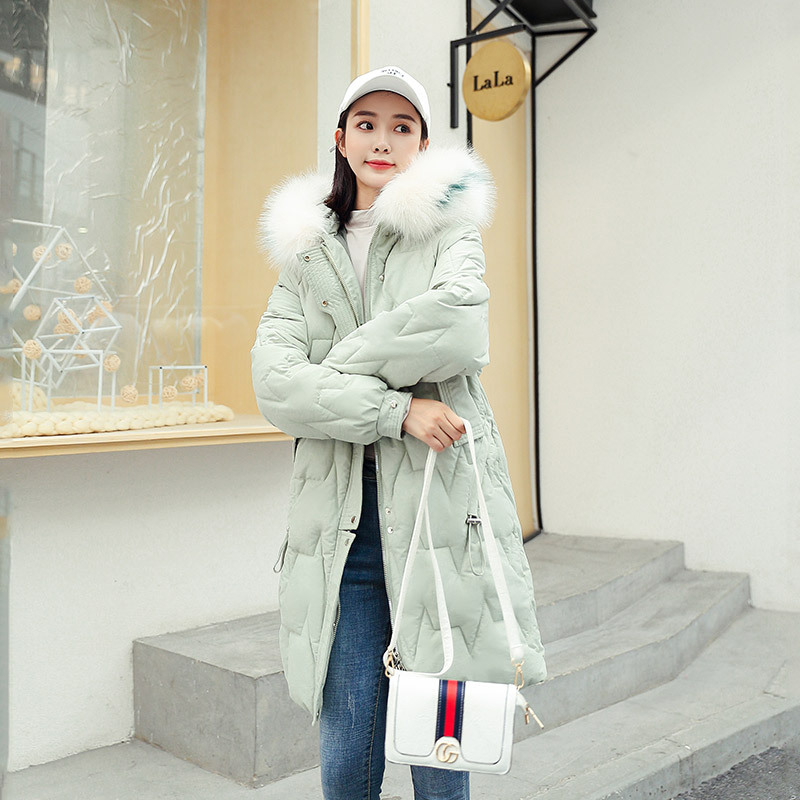 Down Jacket Cotton-padded Clothes Women's 2019 New Style Thick Winter Coat INS over-the-Knee Cotton-padded Jacket Korean-style L