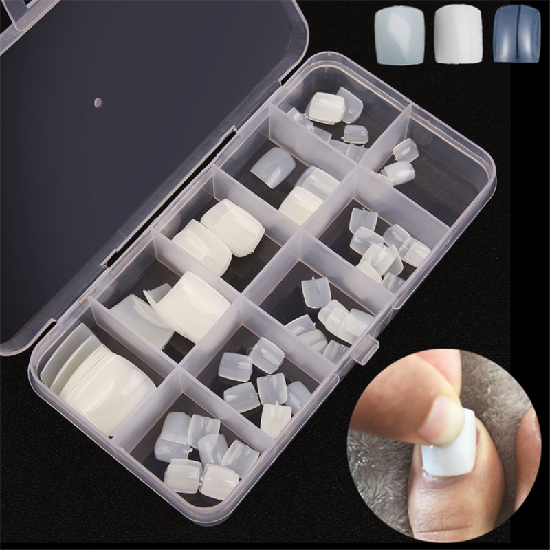 100Pcs Artificial Acrylic Toe False Nails Tips Natural/White/Clear Foot Fake Nails Manicure Art Decoration Toenails Beauty Tools