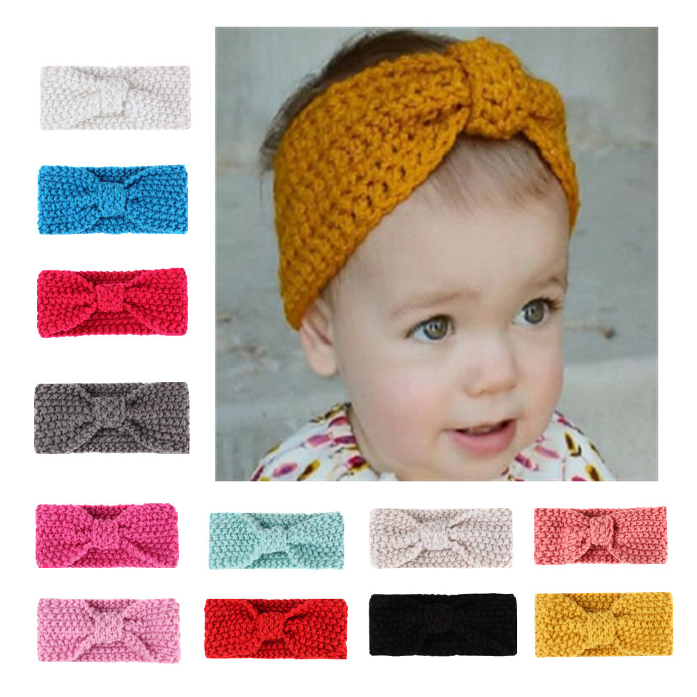 2ps Baby Knit Crochet Bow Headband Princess Hair Bands Winter Warm Kid Infant Headwear Children Hair Accessories Girls Headdress