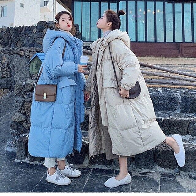 Invierno sobre la rodilla X long bat manga de algodón abrigo femenino suelto de gran tamaño chaqueta gruesa Chaqueta de algodón mullido f272 - 5