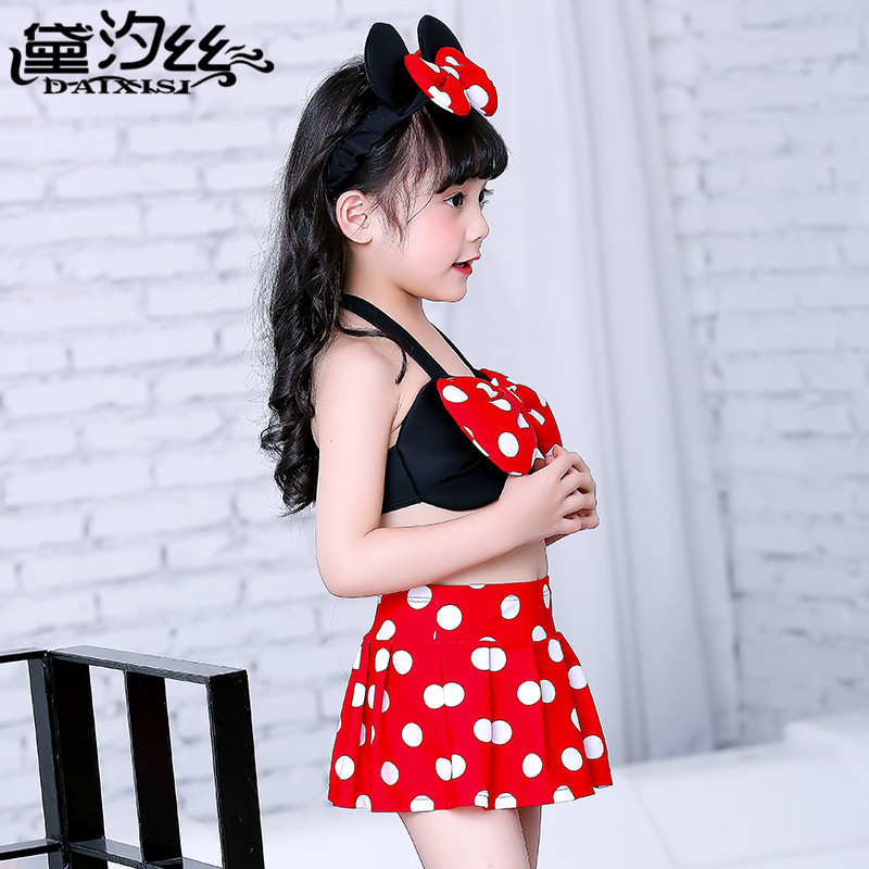 CHILDREN'S Swimwear GIRL'S Small CHILDREN'S Baby Dance Skirt Split Type Bikini Polka Dot Dress Minnie Swimwear CHILDREN'S
