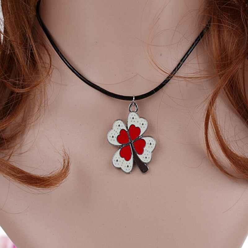 Emaille Rot Clover Charms Vintage Silber Choker Kragen Aussage Halskette Anhänger DIY Schmuck Frauen Kleidung Zubehör HEIßER A19