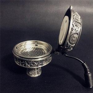 Image 4 - ערבי כסף מתכת נרגילה נרגילות מיוחד פחם חשמלי תנור מחזיק פחמן תנור Chicha קערת נרגילות צינורות אבזרים