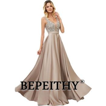 BEPEITHY V-Neck Beads Bodice Open Back A Line Long Evening Dress Party Elegant Vestido De Festa Fast Shipping Prom Gowns