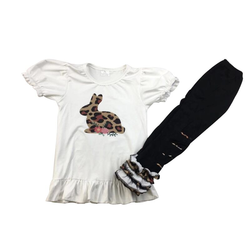 Vintage Style Girl Clothes Leopard Easter Bunny Top Fashion Bell Pants Outfit For Girls