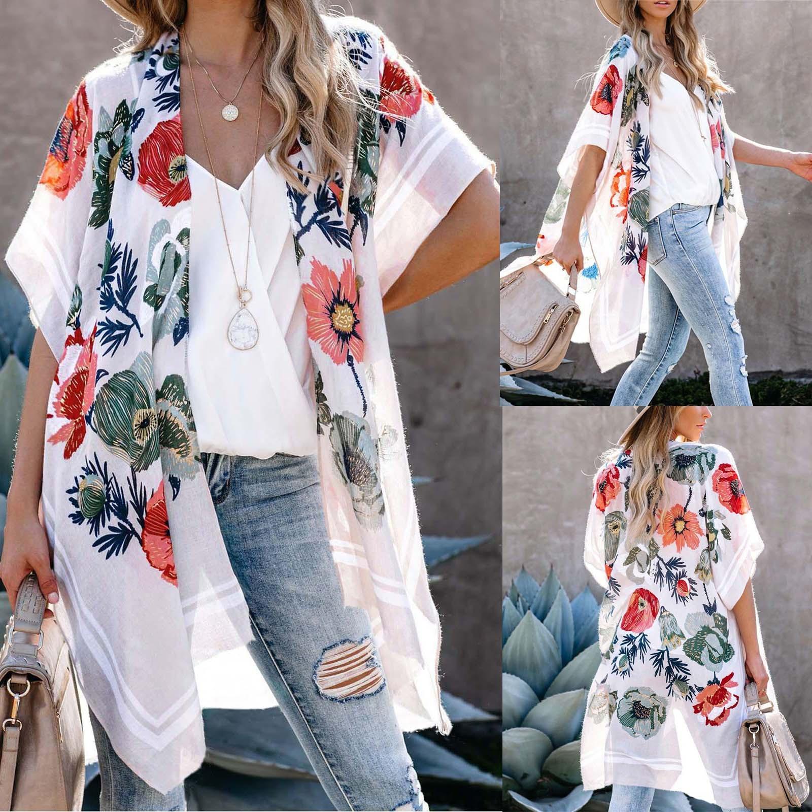NEW#HOT!VTG SUN UP FLORAL PRINT CARDIGAN DRESS BLOUSE KIMONO TUNIC JACKET