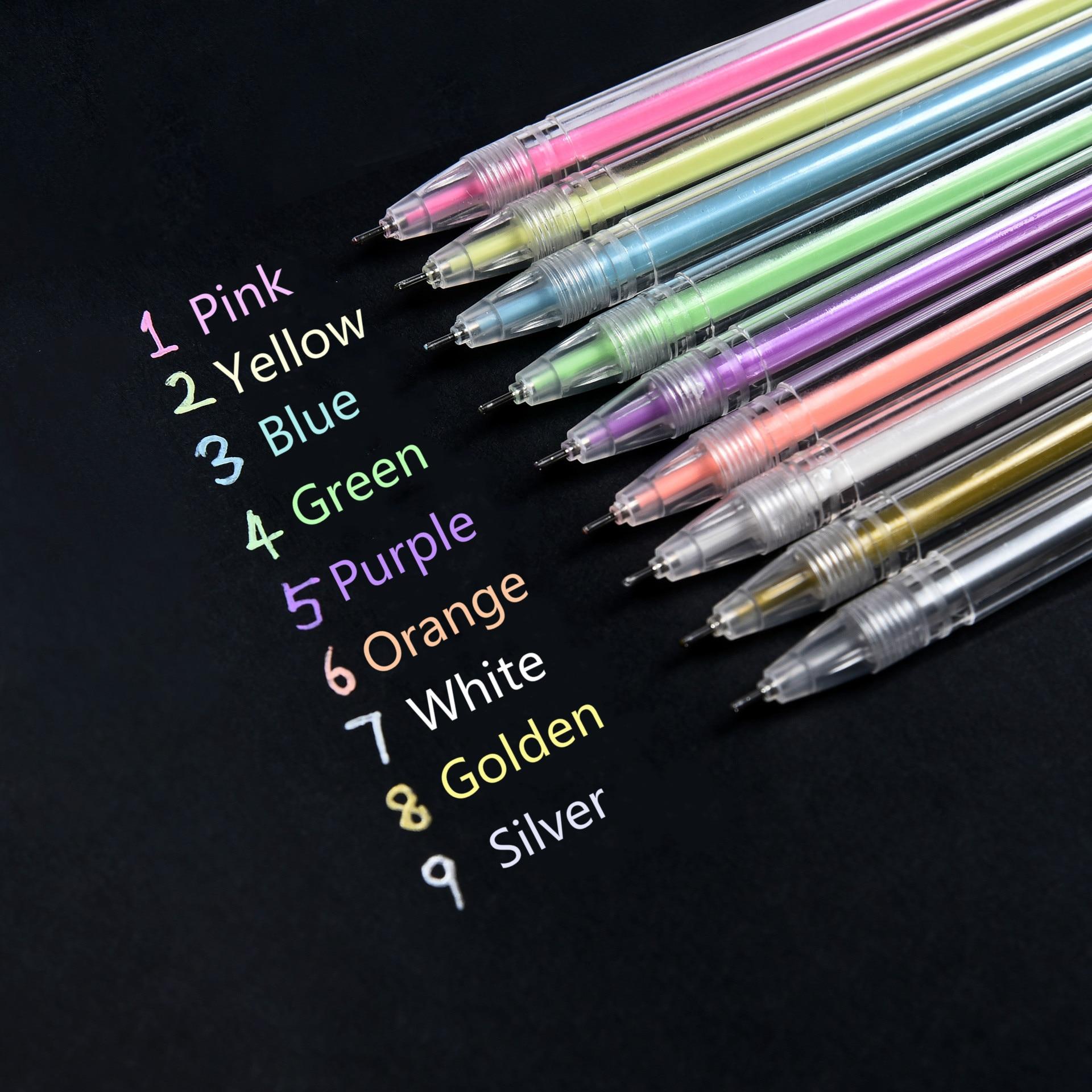 9 цветов, художественные маркеры с металлическими линиями, ручка с линиями, канцелярские принадлежности, ручки для рисования, ручки для калл...