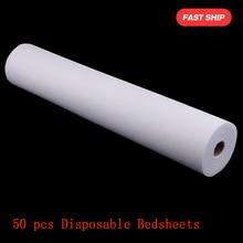 50 folhas não tecido cabeceira rolo de papel spa salão de beleza massagem lençóis de cama capa de mesa tatuagem fornecimento massagem colchão folha 50x70cm