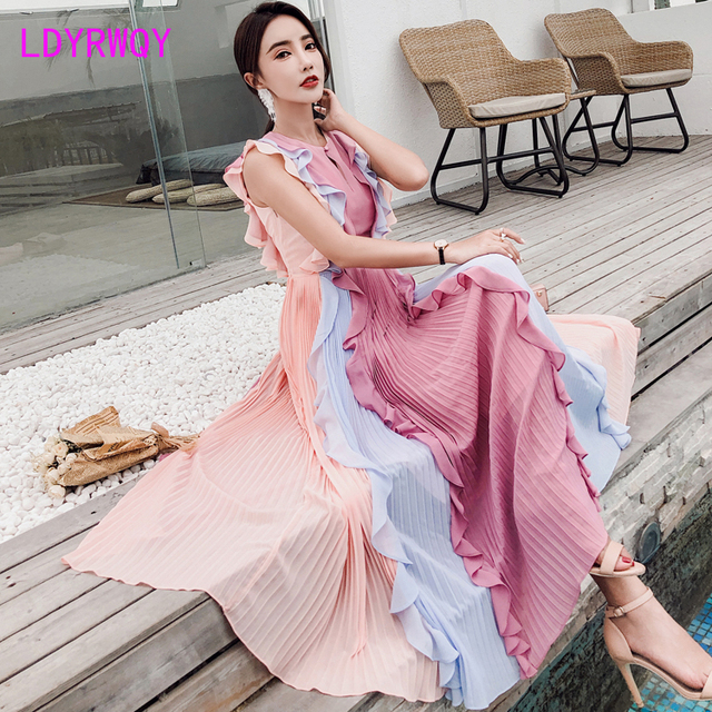 2020 Summer New Pleated Colorblock Lotus Leaf Chiffon Long  Rainbow Dress Office Lady  Cotton  Sleeveless 3