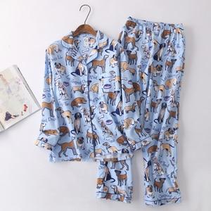 Image 3 - Повседневные пижамные комплекты из 100% хлопка со звездами, мужские уютные пижамы на осень и зиму, мужские пижамы, простые пижамные комплекты