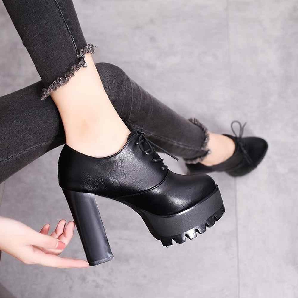 Mulheres Preto super alta das mulheres do salto grosso com outono inverno 2019 novo e botas nuas sapatos com botas curtas das mulheres sapatos único