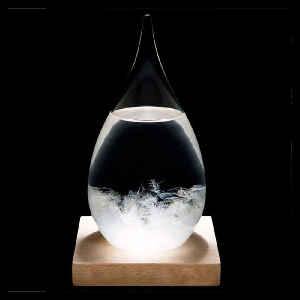 Mini Desktop Droplet Storm Glass Bottle Weather Forecast Predictor Monitor Barometer With Wooden Base For Home Decor