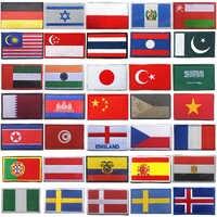 Nationalen Stickerei Streifen Patch China Russland Türkei Frankreich EU Malaysia Ägypten Spanien Flagge Taktische Militärische Armee Applique Streifen