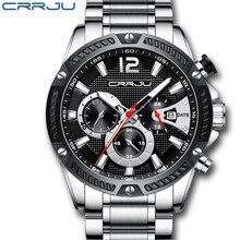 CRRJU Watch Men Fashion Sport Quartz Clock Mens