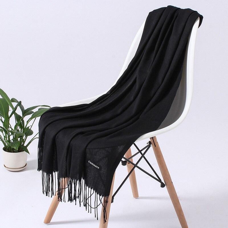 Однотонный кашемировый шарф для женщин новые длинные мягкие шали и палантины пашмины модные хиджаб с кисточками женские шейные шарфы - Цвет: 110g black