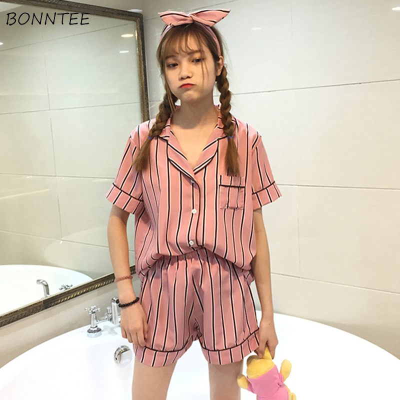 Pajama     Sets   Women Leisure High Quality Trendy Printed Soft Korean Style Summer Womens Students Simple Clothing 2020 Chic Daily