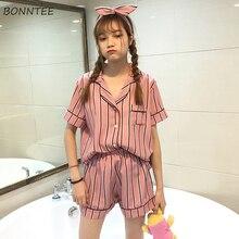 잠옷 세트 여성 레저 고품질 유행 인쇄 소프트 한국어 스타일 여름 여자 학생 간단한 의류 2020 칙 매일