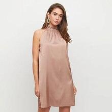 Женское однотонное атласное свободное винтажное мини платье