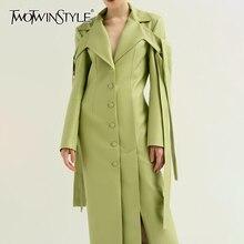 TWOTWINSTYLE, Женское пальто из искусственной кожи на шнуровке, пальто с воротником с лацканами и длинным рукавом, Женское пальто большого размера, Осень-зима, модная OL Новинка
